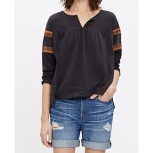 Madewell Lace Inset Peasant Long Sleeved Tee